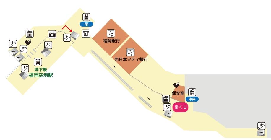 福岡空港の国内線ターミナルB1Fの両替ショップ地図