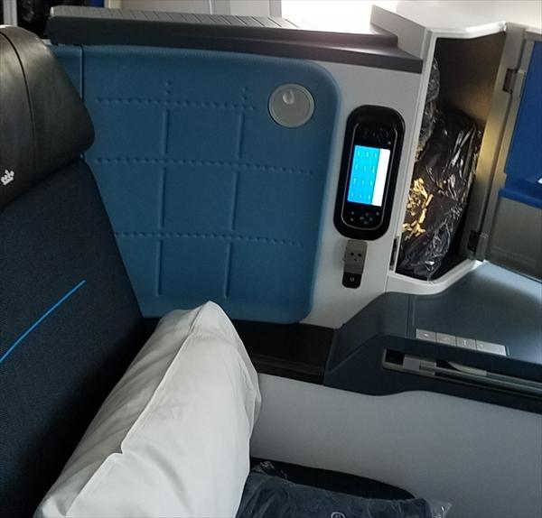 KLMオランダ航空B787-9のビジネスクラスシート
